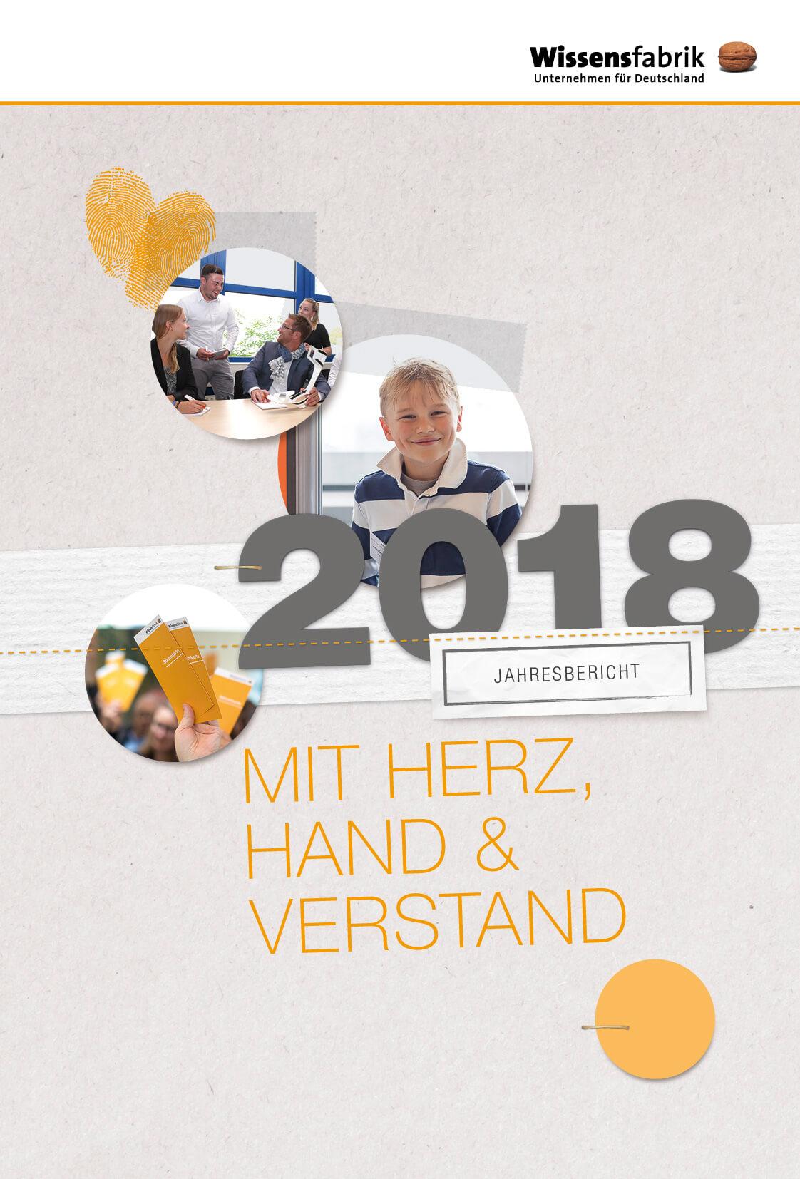 Drei Fotos illustrieren die Arbeit der Wissensfabrik unter dem Motto Mit Herz, Hand und Verstand für den Jahresbericht 2018