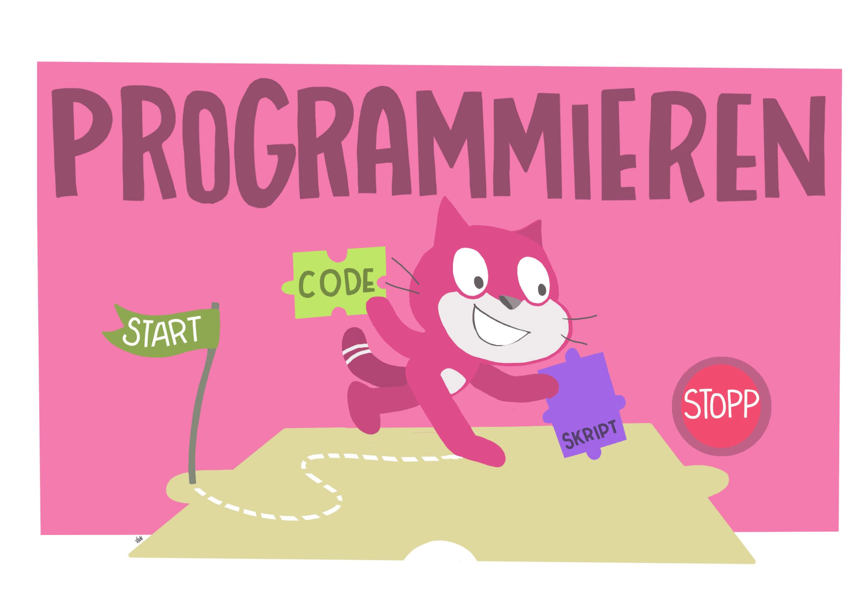 Pinke Katze spielt Programmierspiel
